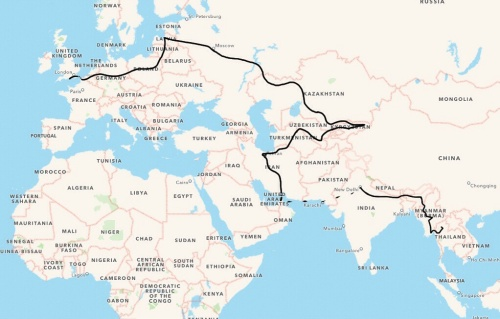 The 2slowspeeds route from Verwood, UK to Chiang Mai, Thailand - November 2014