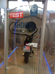 Shoei wind tunnel where you can try helmets for wind noise at the Louis store