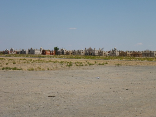 Typical muslim cemetry in Kazakhstan