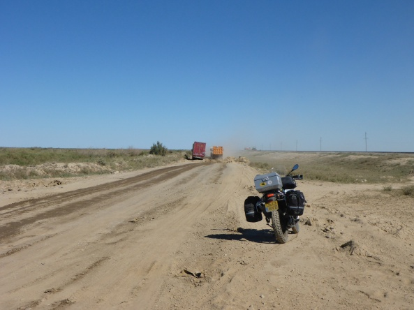 Baikanur to Kyzylorda - one of the many detours while bridges are being built - dealing with the road surface was one thing, but trucks and cars are still impatient and overtake anyhow and anywhere