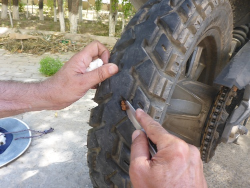 Anne's puncture is just about fixed - we found a 4cm nail comfortably lodged