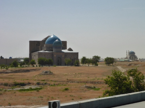 View from our hotel room towards the Mausoleum of Khoja Ahmed Yasawi