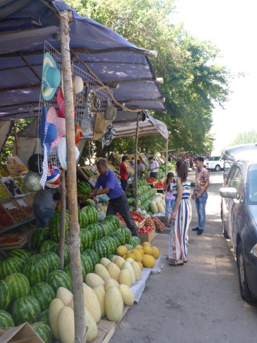 Typical road side fruit stands in Kyrgyzstan
