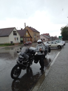 Outside Augustow, Poland, time to put the waterproof trousers on again.