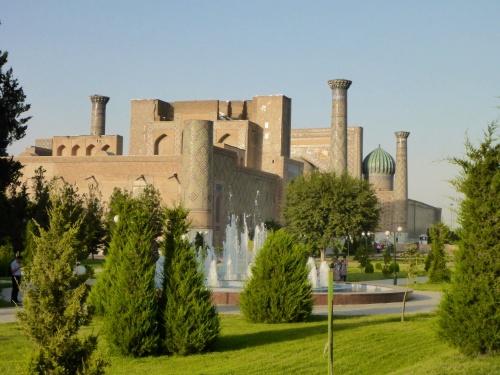 Our first view of the Registan, Samarkand, Uzbekistan
