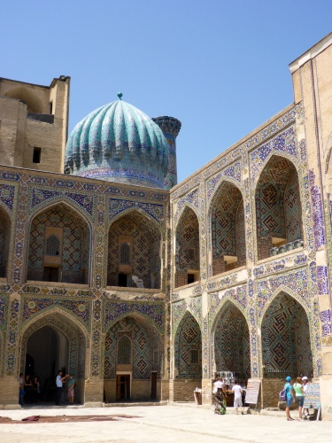Inside the Sher-Dor madrasah, Registan, Samarkand, Uzbekistan