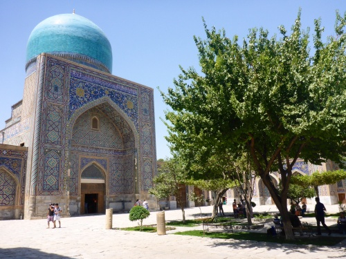 Courtyard of the Tilya-Kori madrasah, Registan, Samarkand, Uzbekistan