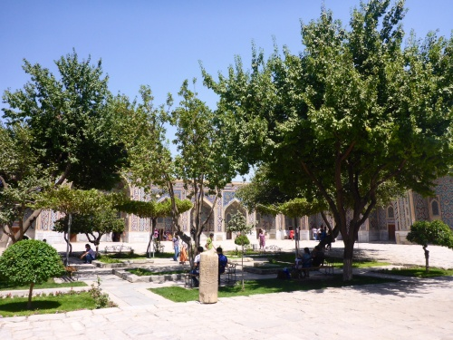 Serene courtyard of the Tilya-Kori madrasah, Registan, Samarkand, Uzbekistan