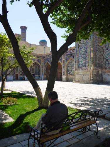 Anthony enjoying the serenity of Tilya-Kori madrasah, Registan, Samarkand, Uzbekistan