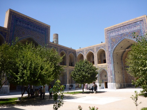 Ulugh-Beg madrasah, Registan, Samarkand, Uzbekistan: a school for higher education in secular science, including philosophy, mathematics, astronomy.  Under each arch were either lecture rooms or dormitories.