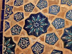 Ceramic tiles inside Ulugh-Beg madrasah, Registan, Samarkand, Uzbekistan