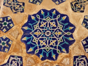 Ceramic tiles inside Ulugh-Beg madrasah, Registan, Samarkand, Uzbekistan