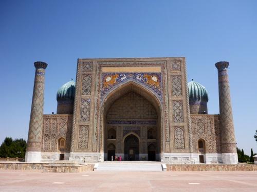 Front of Sher-Dor madrasah,  Registan, Samarkand, Uzbekistan