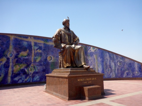 Statue of Ulugh-Beg, 1394-1443, ruler, astronomer, mathematician and sultan, at his obdervatory, Samarkand, Uzbekistan