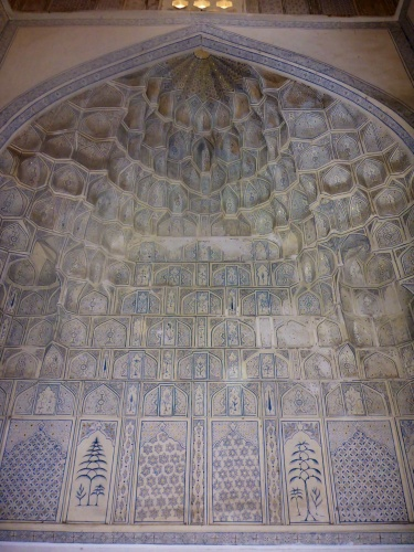 Inside the mausoleum dedicated to the wet nurse to Amir Temur's court, Shahi-Zinda necropolis, Samarkand, Uzbekistan