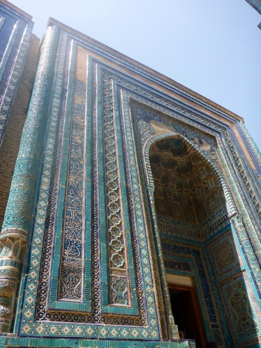 One of the most beautiful mausoleums at Shahi-Zinda necropolis, Samarkand, Uzbekistan, built in honour of Temur's sister Turkon and her daughter Shodi Mulk, Shahi-Zinda, Samarkand, Uzbekistan