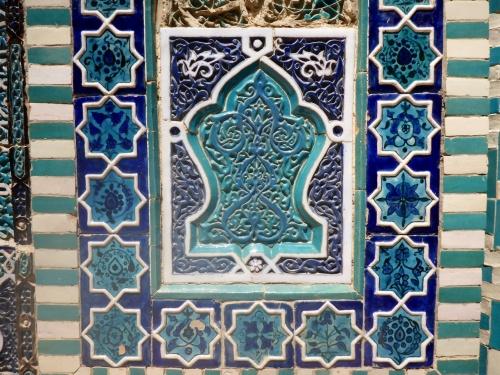 Carved glazed terracota, Shahi-Zinda necropolis, Samarkand, Uzbekistan