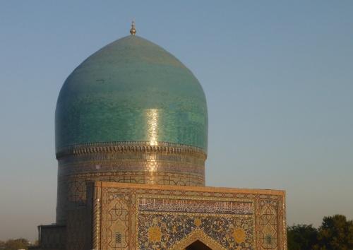 View of Tilya-Kori dome from one of its minarets,  Registan, Samarkand, Uzbekistan