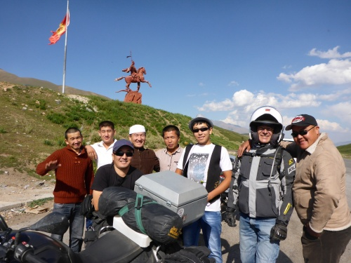 Another photo of Kyrgyz locals who each had to take a photo of us