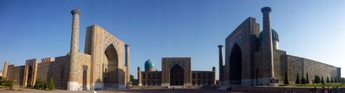 Last view of the Registan, Samarkand, before returning to Tashkent, Uzbekistan to collect our Turkmen visas