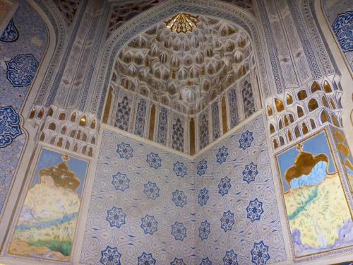 One of the most beautiful mausoleums at Shahi-Zinda, Samarkand, Uzbekistan, built in honour of Temur's sister Turkon and her daughter Shodi Mulk, Shahi-Zinda necropolis, Samarkand, Uzbekistan