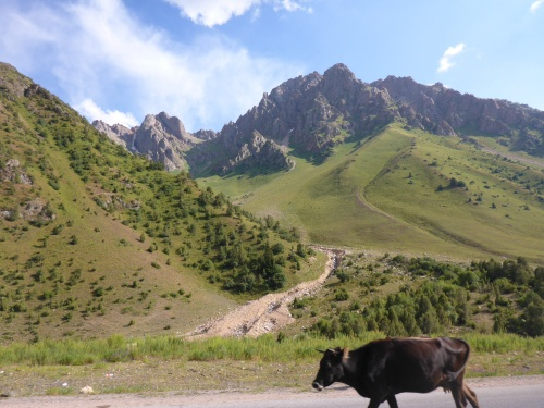 The scenery keeps changing on our way down from Ala-Bel Pass, Kyrgyzstan