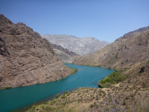 The amazingly blue Naryn River, Kyrgyzstan