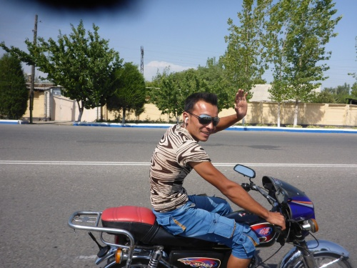 Another friendly Uzbek, on the first motorcycle we've seen here