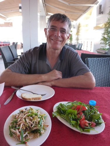 Enjoying some fresh food for the first time in days in Andijan, Uzbekistan