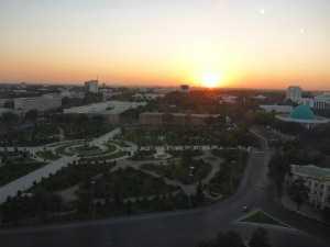 View from our hotel room across Amir Temur square, Toshkent, Uzbekistan