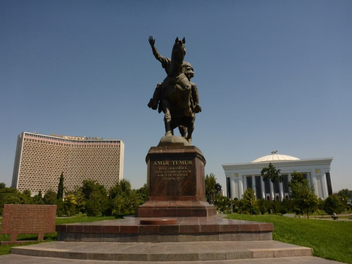 Amir Temur square, with our hotel to the left and the Forums Palace to the right, Toshkent, Uzbekistan
