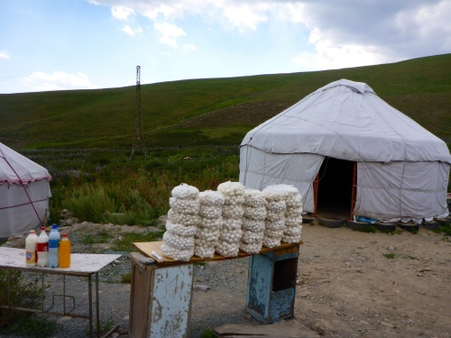 Yurts with mare's cheese and milk products for sale, Kyrgyzstan