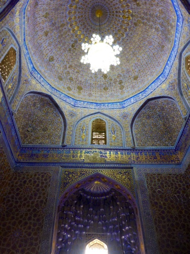 Amir Temur mausoleum, Samarkand, Uzbekistan - stunning gold leaf on silk paper adorns the inside of the mausoleum, the dome of bricks is 15m in diameter and 12.5m deep