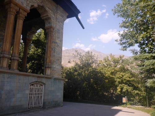 Alborz mountains behind the Green Palace at Saadabad Palaces - Tehran, Iran