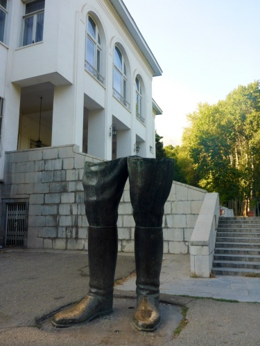 The statue of the last Shah of Iran was destroyed after the 1979 revolution and only his boots remain outside the stunning White Palace - Saadabad Palaces, Tehran, Iran