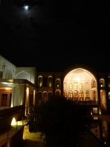 Our hotel in the evenings, Kashan, Iran