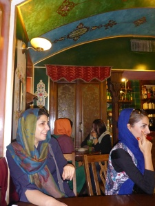 Typical Armenian teahouse in Jolfa district, Isfahan with Zoreh and friends