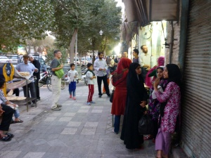 Queue outside our favourite bread shop, Yazd, Iran
