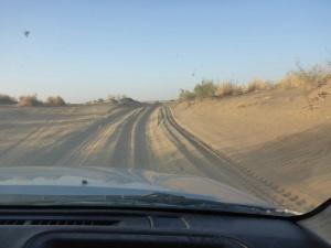 Sandy road towards the Dervaza crater, Turkmenistan