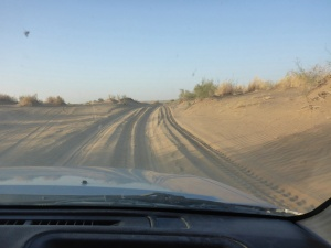 Sandy road towards the Dervaza crater, Turkmenistan