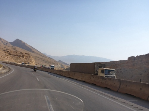 Disconcerting swap of lane direction as we come out of a tunnel, Iran