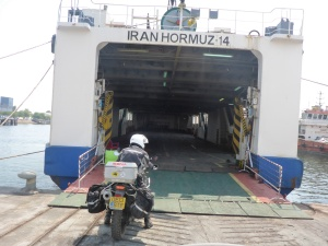 Our ferry from Banda Abbas to Sharjah - except we were not allowed to board yet!