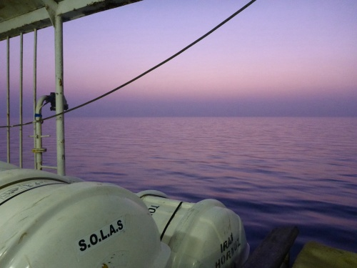 Sunrise on our way to Sharjah - as calm as a mill pond