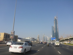 Riding back to Sharjah from Dubai before the afternoon traffic jams