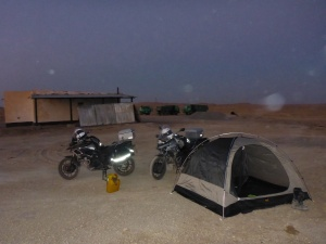 Our campsite at the friendly road construction  site near the Dervaza crater, Turkmenistan