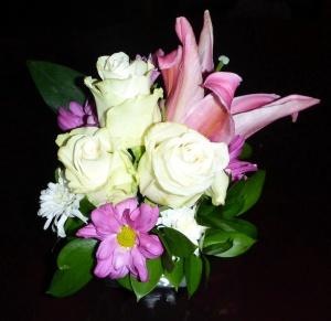 Such flower arrangements were dotted around the apartment