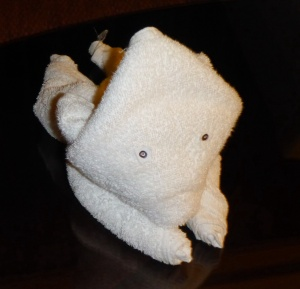 Our cleaner Khin kept leaving us such amazing towel sculptures - love how she made the bear's little eyes!