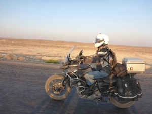 Lovely cool early morning morning ride towards Ashgabat, Turkmenistan