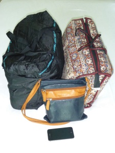 Our luggage for the next 7-10 days, includes 2 pillows, 2 sets of toiletries, 2 changes of clothes, all our medication for the next 3 months and all our essential paperwork