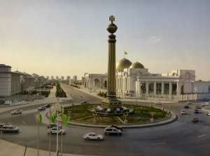 """The """"dead road"""", Ashgabat, Turkmenistan - the small no entry sign can be seen just behind the base of the column on this photo"""
